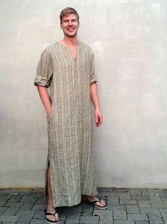 $92  Mens Kaftan Caftan Men Mens loungewear Mens robe by Linenbeeshop in Lithuania on Etsy
