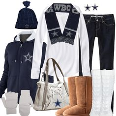 Dallas Cowboys.Trade those hideous uggs with some real boots and ditch that purse and I think I can work with that.
