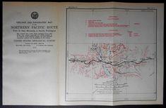 1915 Railroad Map Bismarck, Sedalia, Burleigh, Angora, Driscoll, Missouri River, North Dakota ND. Northern Pacific Rail Antique. Map Vintage
