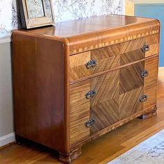 Buried Treasure! - Waterfall Dresser, Buried Treasure, Orange Oil, Furniture Redo, Bury, Art Deco, Things To Sell, Furniture Makeover, Refurbishing Furniture