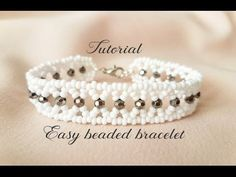 DIY pearl beaded bracelet(simple and elegant) square Stitch - YouTube
