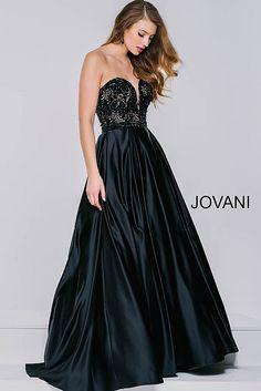 Black Satin A-Line Long Dress 36640