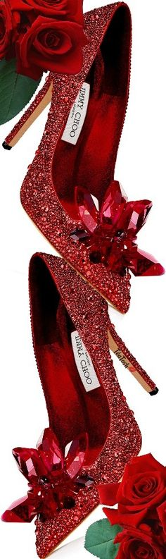 JIMMY CHOO, ARI Red Crystal Covered Pointy Toe Pumps