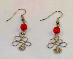 Red and Silver Christmas Earrings Wire Wrapped by PursuitofLight, $9.00