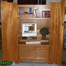 100 Year Old TV Cabinet updated to be computer armoire after photo