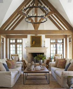 "scoutandnimble on Instagram: ""A vaulted ceiling with beautiful beams standout in this gorgeous space designed by @annemariebarton. Styled by: @dunesandduchess : @mpproductions"""