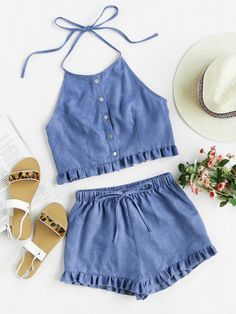 Shop Buttoned Front Princess Seam Halter Top And Shorts Set online. SheIn offers Buttoned Front Princess Seam Halter Top And Shorts Set & more to fit your fashionable needs. Mode Outfits, Girl Outfits, Casual Outfits, Fashion Outfits, School Outfits, Fashion Styles, Girl Fashion, Womens Fashion, Two Piece Outfit