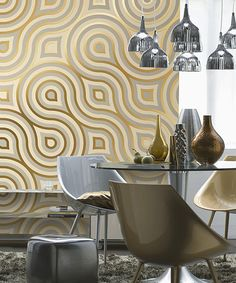 The Meander mural creates a large scale, modern geometric design in decor in a radiant gold palette that plays with light for a metallic effect. The result is a glamorous, mid century modern design. Modern decor is chic and sophisticated. Modern Wall, Modern Decor, Fotos Wallpaper, Poster Xxl, Wallpaper Warehouse, Deco Retro, Space Furniture, Mid Century Modern Design, Furniture