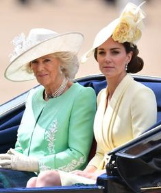 Camilla Parker-Bowles looked incredible at Trooping the Colour wearing a mint green outfit by Bruce Oldfield alongside Kate Middleton, Meghan Markle and Prince Harry. Duchess Of Cornwall, Duchess Of Cambridge, Duchess Kate, Duke And Duchess, Kate Middleton, Mint Green Outfits, Queen's Official Birthday, Trooping Of The Colour, Philip Treacy Hats