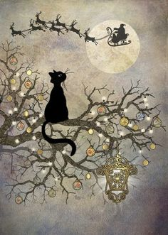 Moon Cat 5 Pack : Yule/Winter Solstice : Cards by Occasion / Recipient : Home : Pagan/spiritual and fairy/fantasy greeting cards, prints and gifts at Moondragon Christmas Paper, Vintage Christmas Cards, Christmas Cats, Christmas Pictures, Vintage Cards, Xmas, Merry Christmas, Nyc Christmas, Black Christmas