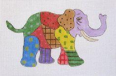 Vibrant Artsy Patchwork Elephant Handpainted Needlepoint Canvas #Unbranded