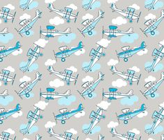 Planes and clouds on grey fabric by nossisel on Spoonflower - custom fabric