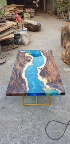 Blue river table top with epoxy inlay Senna siamea wood epoxy table resin table coffee table