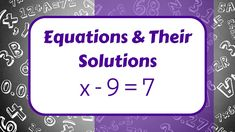 Equation and their Solutions