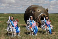 Taikonauts after landing in Mongolia. Soyuz Spacecraft, Space Shuttle Challenger, Nasa Lies, Ancient Names, Space Rocket, Look At The Stars, Earth From Space, Flat Earth, China