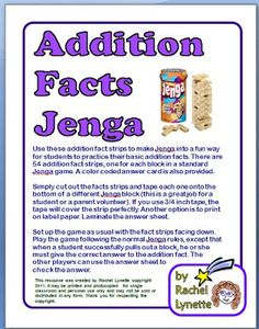 Addition and Multiplication Facts Jenga!