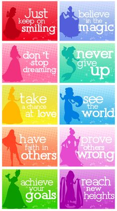Snow White, Cinderella, Aurora, Ariel, Belle, Jasmine, Pocahontas, Mulan, Tiana, Rapunzel