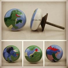 #Dinosaur #ceramic #knob. Create a mini jurassic chest of #drawers for your kids. Check our our complete collection at https://www.indianshelf.com/category/knobs-handles/. We do cash on delivery as well in India.