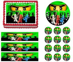 NINJAGO GREEN Ninja Green Face Edible Cake Topper Image Frosting Sheet Cake Decoration Many Sizes!