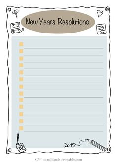 A simple Tick List New Year resolution card - printable for adding to your art journals, day planner templates or simply to pin up at the wall
