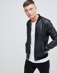 Pull&Bear   Pull&Bear Faux Leather Bomber In Black