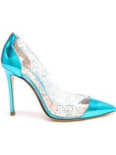 GIANVITO ROSSI Leather And Glitter Perspex Pumps