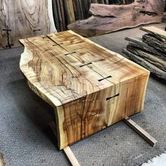 Throwback Thursday to one of my favourite waterfall coffee tables. Beautiful Silver Maple live edge slab with Wenge dovetail keys