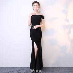Chic / Beautiful Black Evening Dresses  2017 Trumpet / Mermaid Floor-Length / Long Off-The-Shoulder Short Sleeve Backless Split Front Formal Dresses