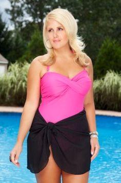e9dfe97bfed Women s Plus Size Swimwear - Always For Me Chic Solids - Twist Bandeau One  Piece Swimsuit