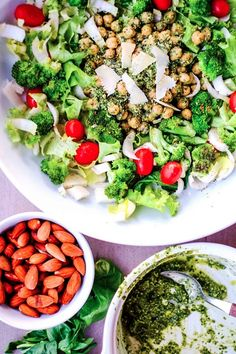 Chickpea broccoli salad with rocket pesto #eatingwell