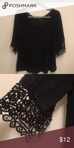 Gorgeous Lace Bell Sleeve Black Top. Size Large Absolutely gorgeous black  top with lace bell 37e85df35
