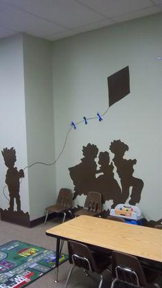 Silhouette of children in church nursery.