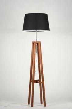 Lampara de pie Modelo 30430. madera y tuliipa en tela negra  de Lumidora.com  129€