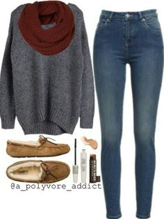 Baggy grey sweater with skinny jeans and moccasins