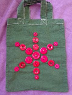 childrens tote bag - green with red buttons