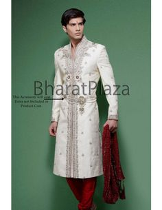 White Sherwani with Red Detail