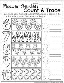 Spring Preschool Number Worksheets II