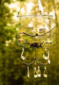 Project estimate:    Chicken wire, $1 and up  Wire clothes hanger, on  hand or $1  Hanging tomato planter,  about $5  Tea lights, on hand or $1  Twig, free  Moss, on hand or $1  Bird, $1  Chandelier crystals, about $5  Pliers, on hand  Glue gun, on hand  Total: about $11 and up