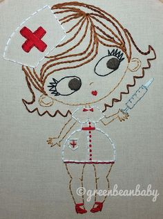 Pinup Nurse Cutesie Digital Embroidery Patterns by greenbeanbaby on Etsy