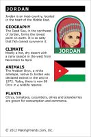 MakingFriends Facts about Jordan Printable Thinking Day fact card for our passports. Perfect if you chose Jordan for your Girl Scout Thinking Day or International Night celebration. Teaching Geography, World Geography, Educational Activities For Toddlers, Preschool Activities, Facts For Kids, Fun Facts, Jordan Country, Around The World Theme, Kids Education