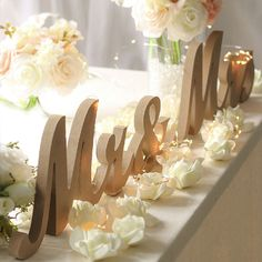 Mr & Mrs Letters Solid Wooden Stand With Light Wedding Reception DIY Table Decor #Unbranded