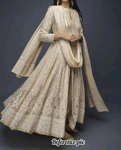 Chickenkari and simple work Outfit which are pretty and simple - AwesomeLifestyleFashion White This beautiful Lehenga wore. Indian Fashion Dresses, Dress Indian Style, Indian Gowns, Indian Attire, India Fashion, 70s Fashion, London Fashion, Fashion Clothes, Fashion Online