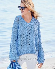Hand Knitted Sweaters, Sweater Knitting Patterns, Hand Knitting, Beach Towel Bag, Drops Design, Knit Fashion, Free Pattern, One Piece, Sleeves