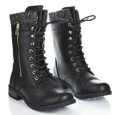 Forever Link Womens Mango-31 Round Toe Military Lace Up Boots