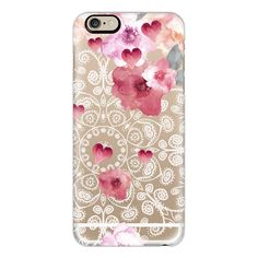 HAPPY  SPRING VINTAGE & LACE by Monika Strigel - iPhone 7 Case, iPhone... ($40) ❤ liked on Polyvore featuring accessories, tech accessories, phones, cases, electronics, phone cases, iphone case, slim iphone case, apple iphone case and iphone cover case