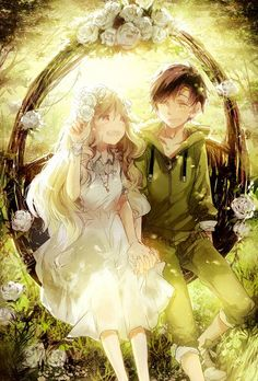 Anime girl and anime guy on the swing. how cute :)
