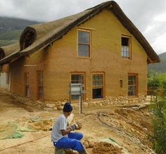 Sturdy Houses Made of Mud & More: Cob house under construction, Greyton, Western Cape Province, South Africa