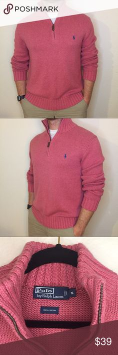Polo Ralph Lauren Zip Sweater Polo Ralph Lauren Zip Sweater. Like new. 100% knit cotton. Leather zipper. Great fitted medium. Polo by Ralph Lauren Sweaters