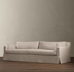 "RH 10' Belgian Track Arm Slipcovered Sofa    Same pricing for Shelter arm and Slope arm  Natural w/ standard fill, 43""d  Brushed Linen/Cotton $4725  Army Duck $4295"