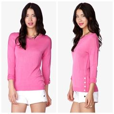 Forever 21 Essential Buttoned Vent Sweater • Size Small • Shocking Pink • Care tags have been cut for comfort • Peep the Pics! • Great Condition! Forever 21 Sweaters